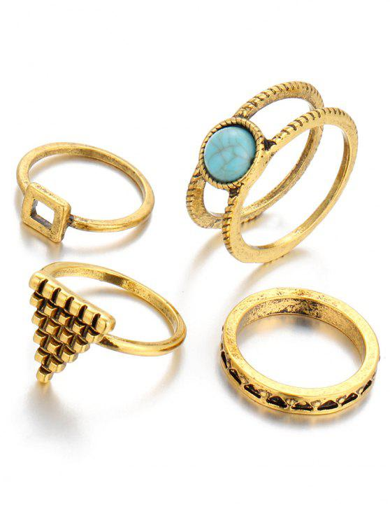 trendy Faux Turquoise Triangle Rings - GOLDEN