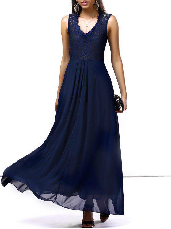 فستان الحفلة طويل ماكسي شيفون - ازرق غامق L
