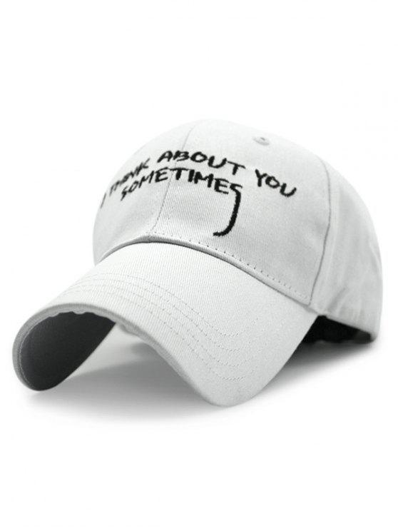 shops English Sentence Embroideried Baseball Hat - WHITE