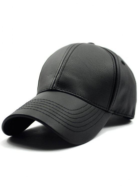 latest Black PU Baseball Hat - BLACK