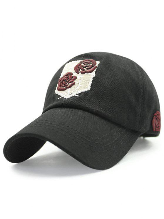 Rose Embroideried Baseball Hat - Noir