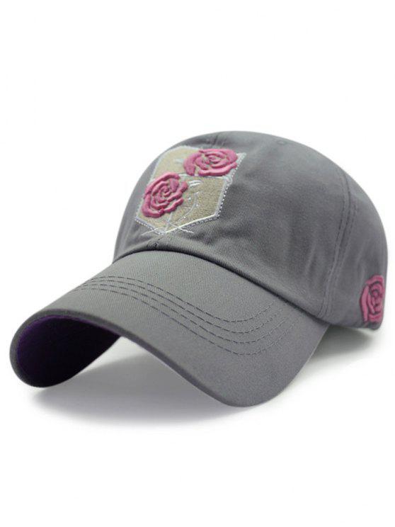 women Rose Embroideried Baseball Hat - GRAY