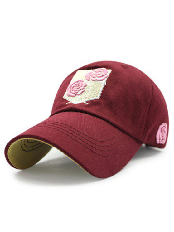 women's Rose Embroideried Baseball Hat - WINE RED