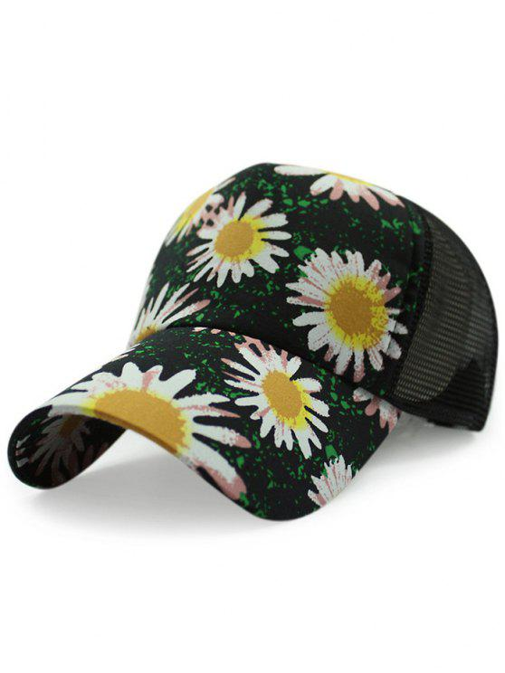 ladies Mesh Back Chrysanthemum Baseball Hat - BLACK