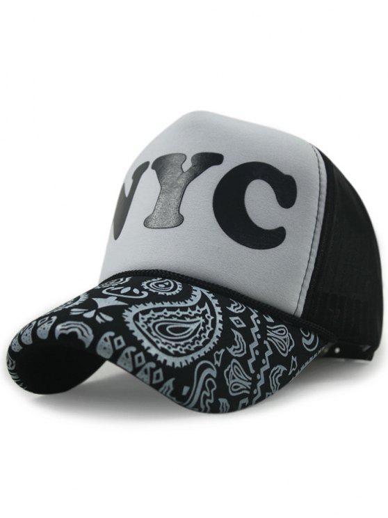 Chapeau base-ball imprimé paisley lettre à color block - Blanc et Noir