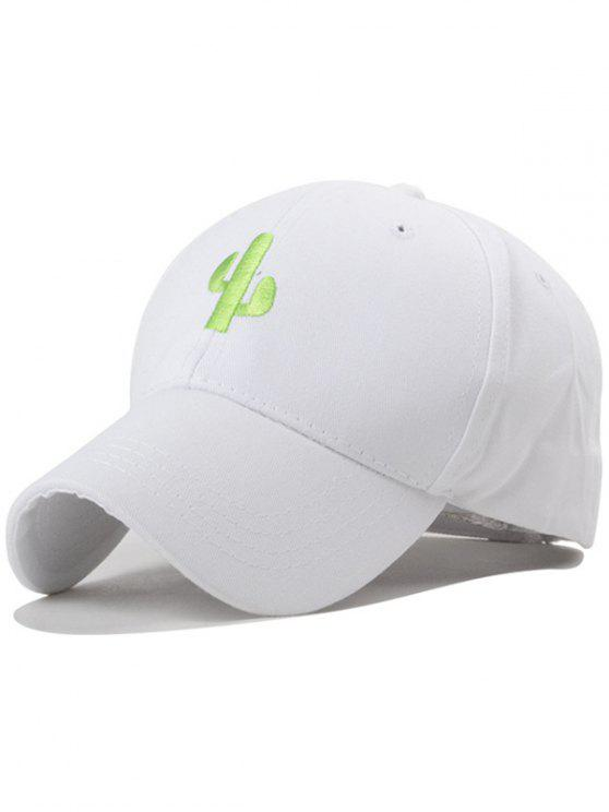 trendy Cactus Embroideried White Baseball Hat - WHITE