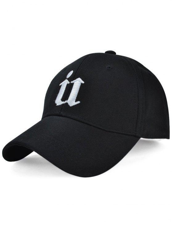 Gótica de la letra T Embroideried sombrero de béisbol - Negro