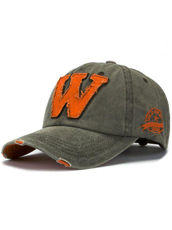 women Letter W Baseball Hat - ARMY GREEN