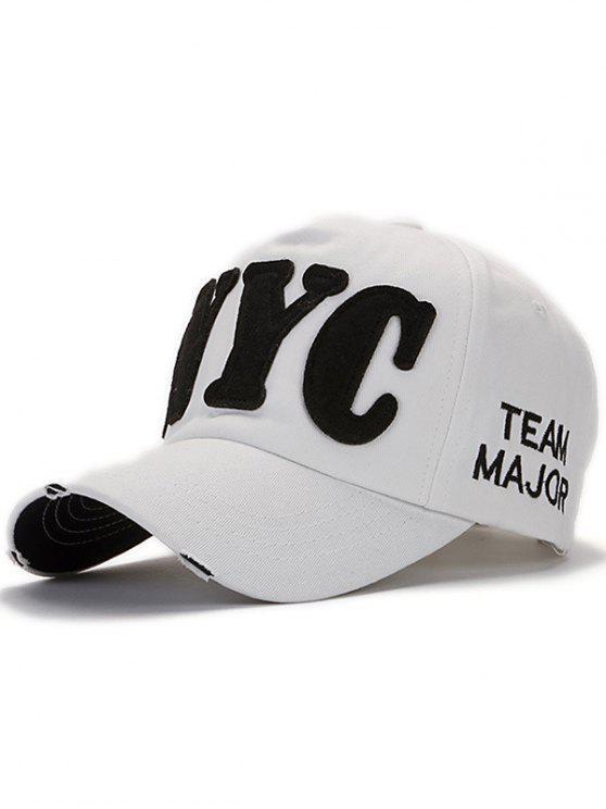 Carta apliques el sombrero de béisbol - Blanco