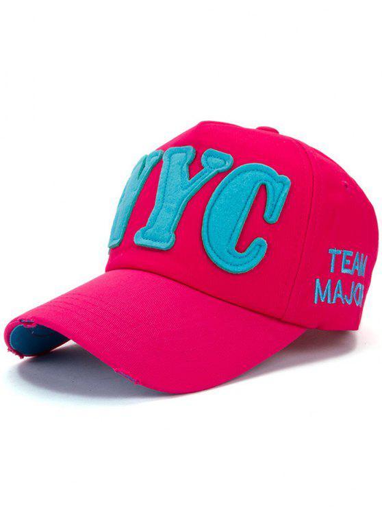 fancy Letter Applique Baseball Hat - ROSE