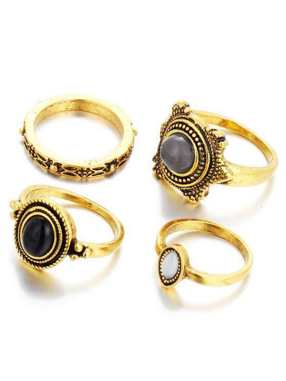 chic Fake Gem Embossed Rings - GOLDEN