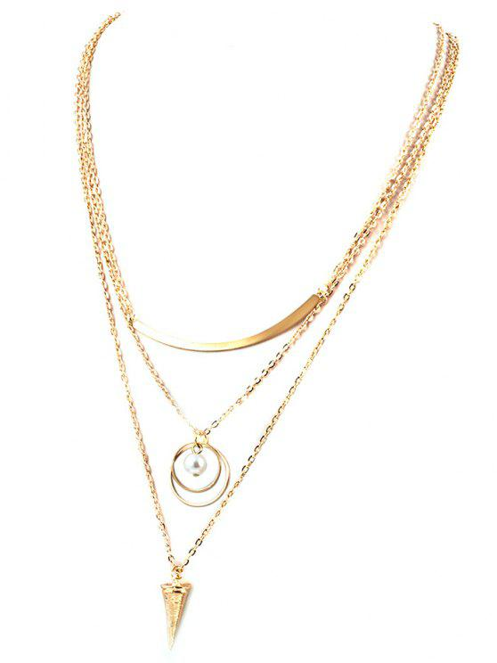women's Faux Pearl Triangle Layered Necklace - GOLDEN