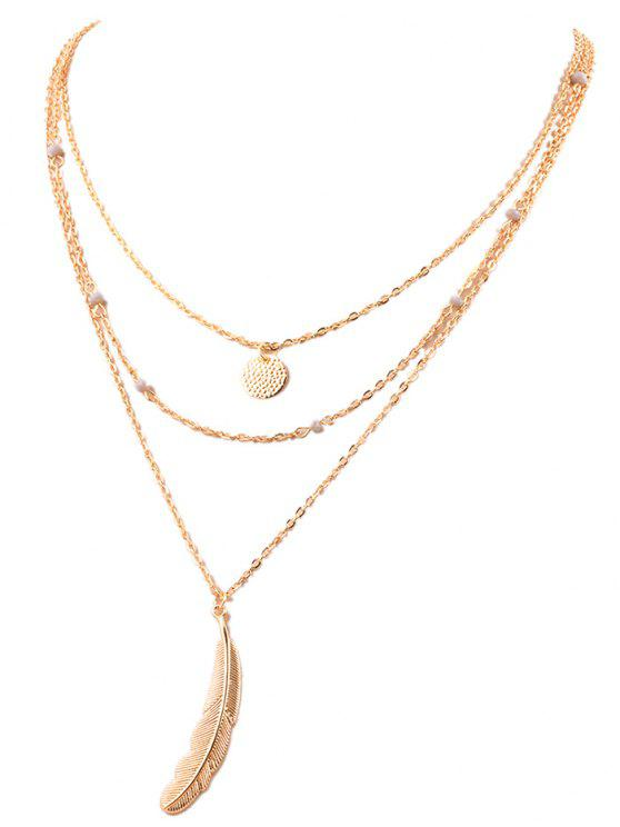 best Fake Feather Layered Necklace - GOLDEN
