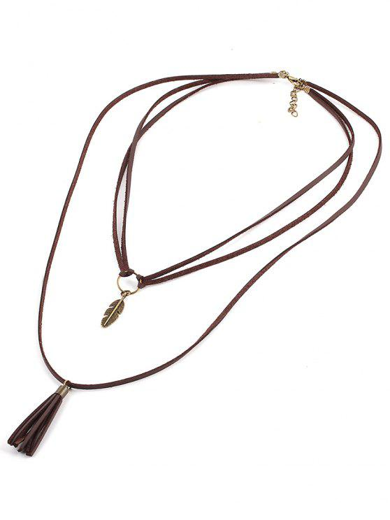 hot Leaf Fringe Multilayered Necklace - COFFEE