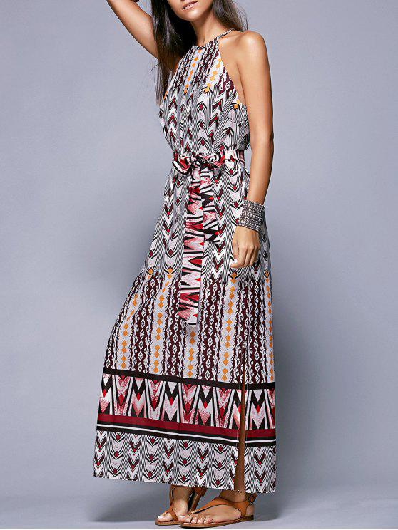 women's Side Slit Belted Bohemian Dress - COLORMIX M