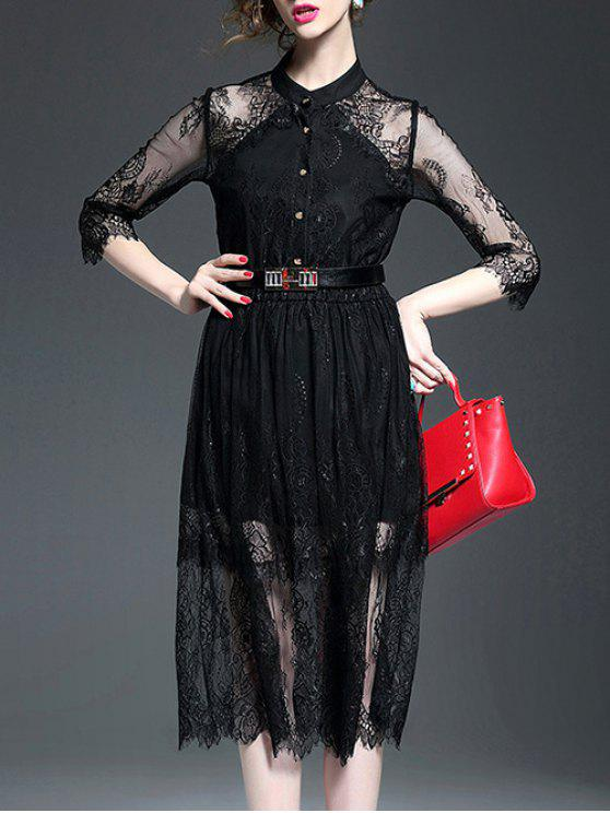 See-Through Stand Neck Lace Spliced Dress - Negro M