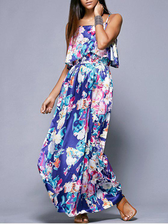 fashion Overlayed Maxi Floral Dress in Blue - BLUE S