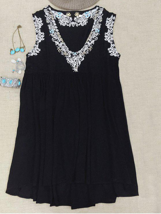 ladies Cami Top and V-Neck Retro Embroidery Dress Twinset - BLACK M