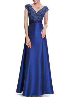 V Neck Satin Maxi Skater Formal Evening Dress - Blue 2xl