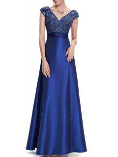 V Neck Satin Maxi Skater Formal Evening Dress - Blue S