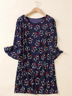 Plus Size Flare Manga Animal Gatito Imprimir Mini Vestido - Azul Purpúreo 3xl