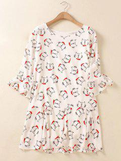 Plus Size Flare Sleeve Animal Kitten Print Mini Dress - White 2xl