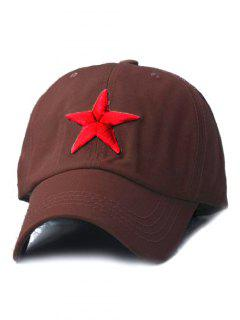 Five-Pointed Star Embroideried Baseball Hat - Coffee
