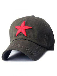 Five-Pointed Star Embroideried Baseball Hat - Army Green