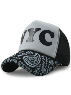 Letter Paisley Print Color Block Baseball Hat - White And Black