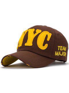 Letter Applique Baseball Hat - Coffee