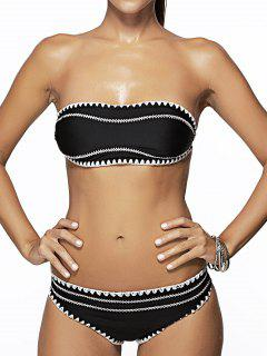 Bandeau Bikini Set Embroidery - Noir L