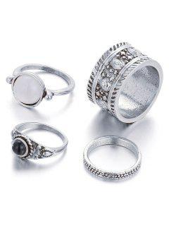 Faux Opal Embossed Rings - Silver