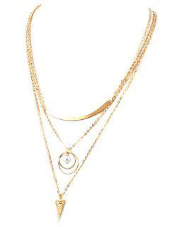 Faux Pearl Triangle Layered Necklace - Golden