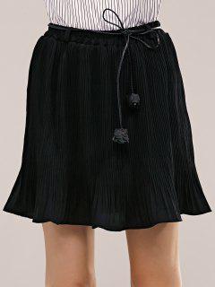 Pleated Skirt With Belt - Black