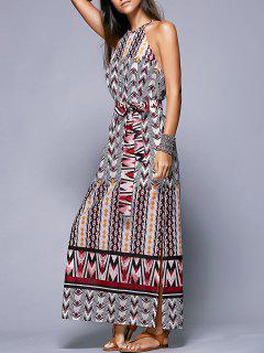 Side Slit Belted Bohemian Dress - Xl