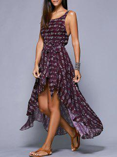 Open Back Maxi Dress In Plum - Purplish Red S
