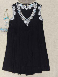 Cami Top And V-Neck Retro Embroidery Dress Twinset - Black S