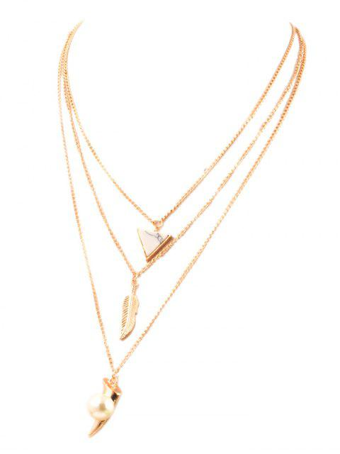 online Fake Pearl Leaf Layered Necklace - GOLDEN  Mobile