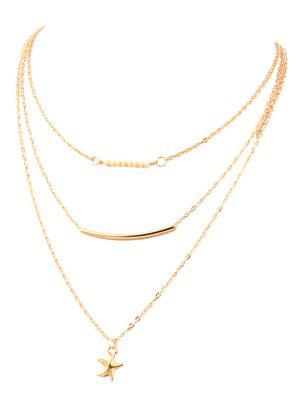 Starfish Bead Layered Necklace - Golden