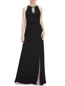فستان السهرة الحفلة انقسام ماكسي - أسود 4xl