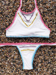 Cintura Baja Del Bikini Conjunto De Cuello Alto - Blanco