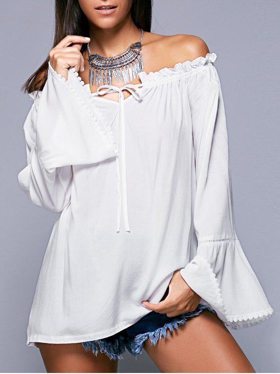 best Ruffled Off The Shoulder Long Sleeve Blouse - WHITE L
