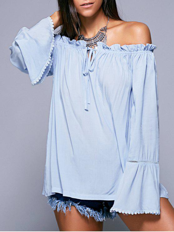 outfits Ruffled Off The Shoulder Long Sleeve Blouse - LIGHT BLUE M