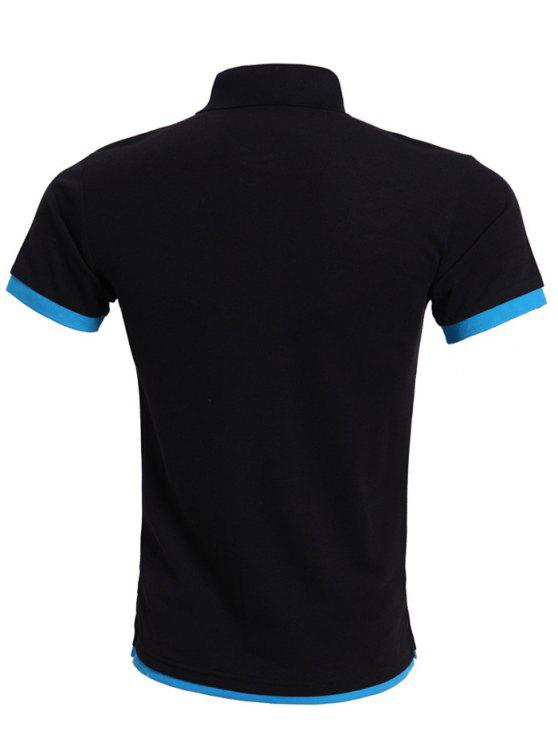 Simple Spliced Bicolor Short Sleeve Polo Shirt For Men BLUE AND ...