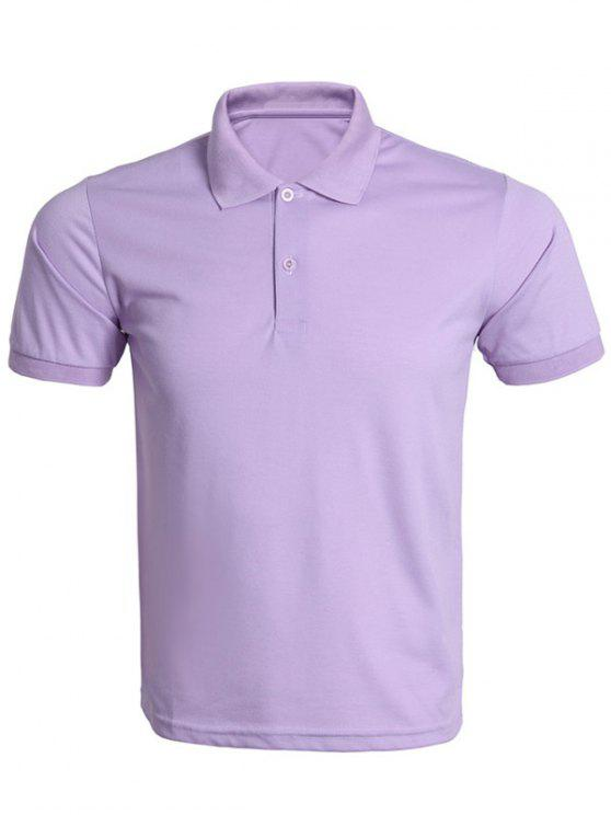Turn Down Kragen Solid Color Polo T Shirt Fur Manner Lila Polo