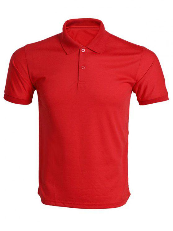 7115d87ea70 14% OFF  2019 Turn-Down Collar Solid Color T-Shirt For Men In RED ...