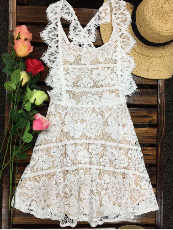 fashion Open Back Prom Dress - MILK WHITE L