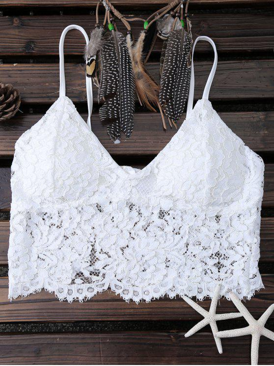 unique White Lace Bralette - WHITE S