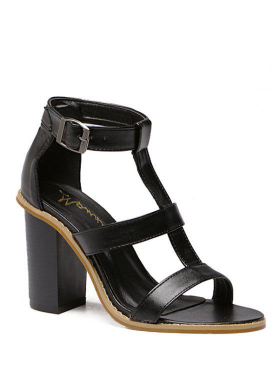shop T-Strap Chunky Heel Sandals - BLACK 39