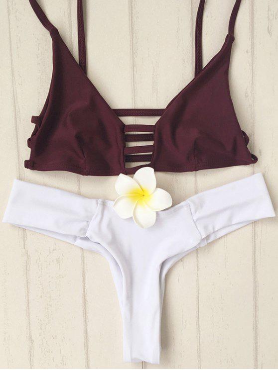 Los tirantes de espagueti ahueca hacia fuera el color del golpe del bikini Set - Blanco XL